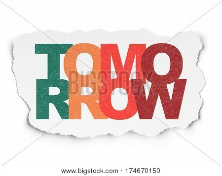 Time concept: Painted multicolor text Tomorrow on Torn Paper background