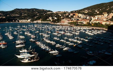 view of lerici in la spezia italy with its bay and small port on a blue sky background