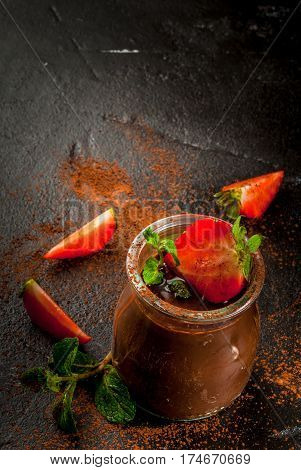 Chocolate Dessert  With Strawberries And Mint