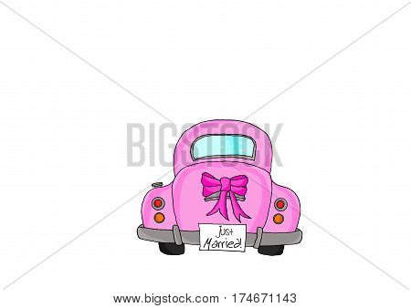 Pink car with bow tie and