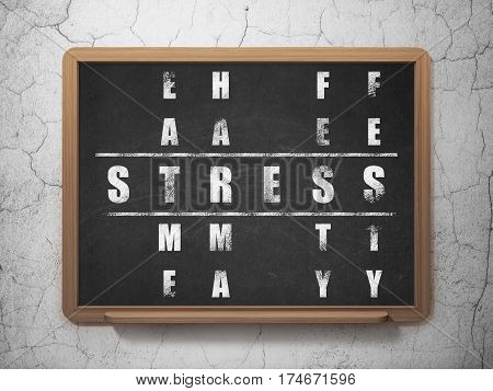 Medicine concept: Painted White word Stress in solving Crossword Puzzle on School board background, 3D Rendering