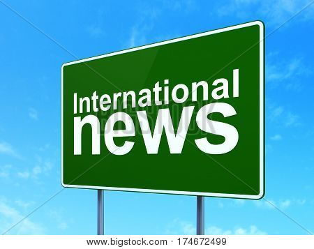 News concept: International News on green road highway sign, clear blue sky background, 3D rendering