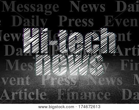 News concept: Glowing text Hi-tech News in grunge dark room with Dirty Floor, black background with  Tag Cloud