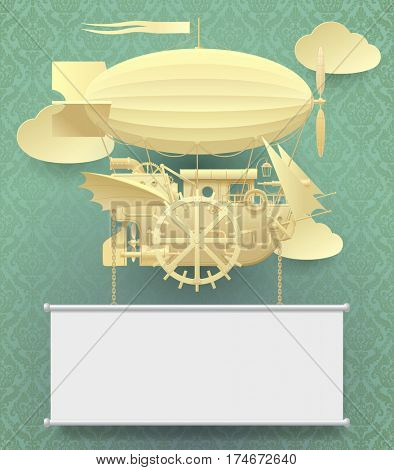 Vintage paper steam punk template with a complex fantastic flying ship on classic background. Web page design in retro style. Contains the Clipping Path