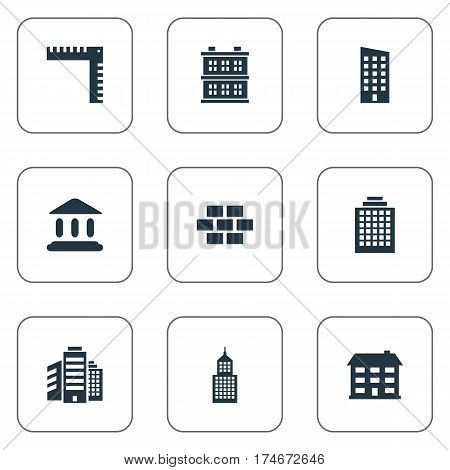 Set Of 9 Simple Structure Icons. Can Be Found Such Elements As Length, School, Structure And Other.
