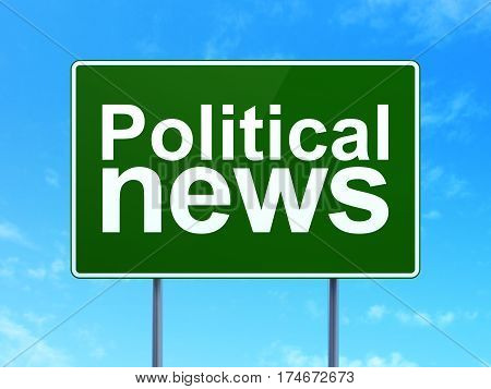 News concept: Political News on green road highway sign, clear blue sky background, 3D rendering