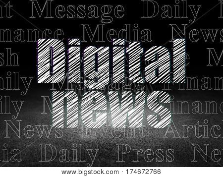 News concept: Glowing text Digital News in grunge dark room with Dirty Floor, black background with  Tag Cloud