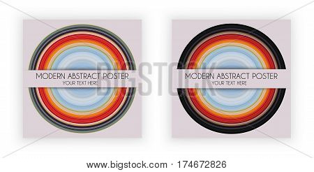 Art Design Poster with round symbol music plate stretched pixels effect