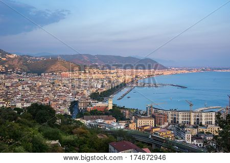 Aerial view of Salerno in Italy at sunset
