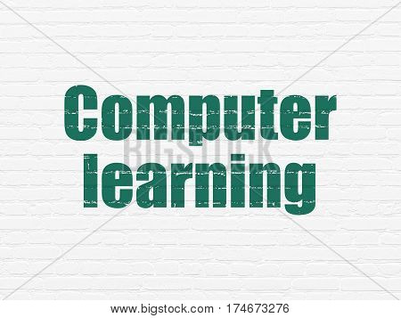 Learning concept: Painted green text Computer Learning on White Brick wall background