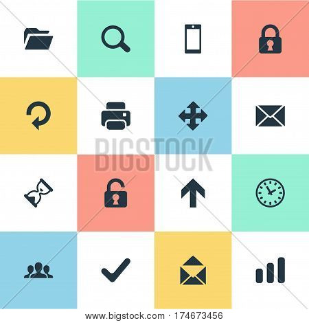 Set Of 16 Simple Apps Icons. Can Be Found Such Elements As Magnifier, Dossier, Community And Other.