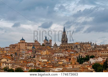 Scenic view of Toledo from the height. Spain. Castilla la Mancha.