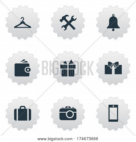 Set Of 9 Simple Accessories Icons. Can Be Found Such Elements As Hanger, Mobile Phone, Gift And Other.