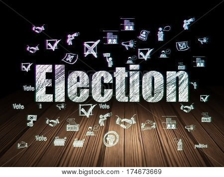 Political concept: Glowing text Election,  Hand Drawn Politics Icons in grunge dark room with Wooden Floor, black background
