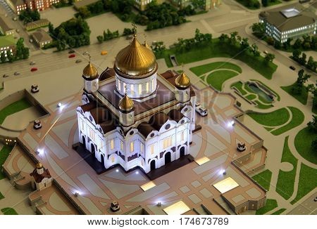 Moscow, Russia - Aug 23, 2014: Model Of Cathedral Of Christ The Saviour, Part Of Giant Architectural