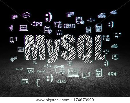 Programming concept: Glowing text MySQL,  Hand Drawn Programming Icons in grunge dark room with Dirty Floor, black background