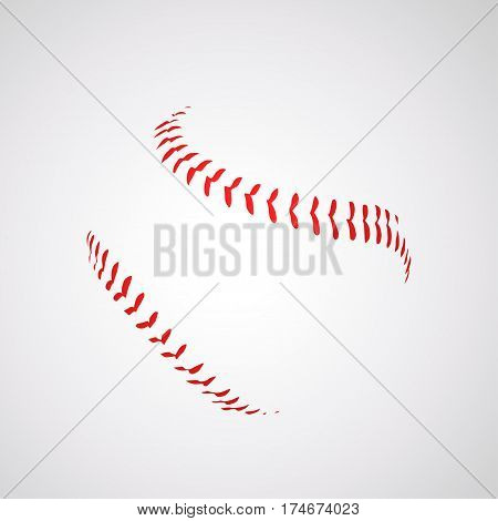 illustration of baseball ball silhouette seam on bright background