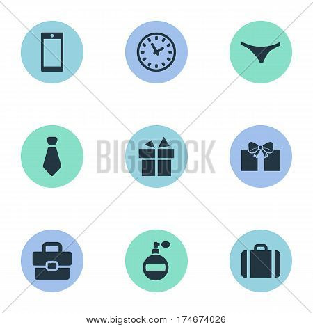 Set Of 9 Simple  Icons. Can Be Found Such Elements As Cravat, Business Bag, Time And Other.