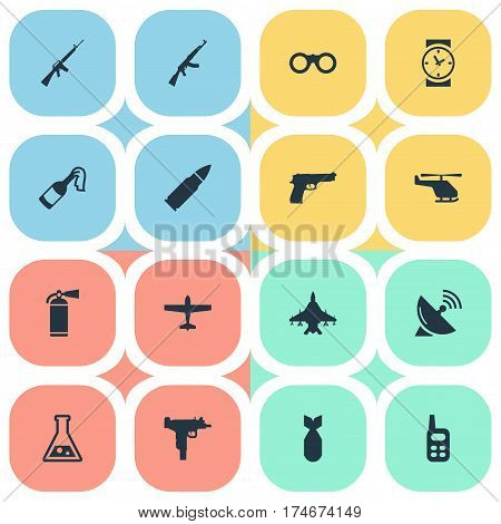 Set Of 16 Simple War Icons. Can Be Found Such Elements As Sky Force, Nuke, Air Bomber And Other.