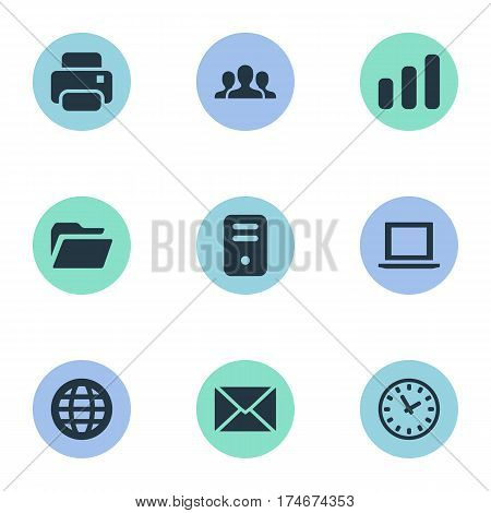 Set Of 9 Simple Application Icons. Can Be Found Such Elements As Printout, Watch, Statistics And Other.