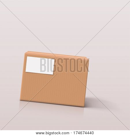 illustration of carton box with shadows on bright background