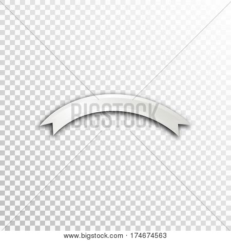 Empty white paper plate base for text. Simple ribbon form card on transparent background.
