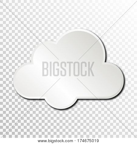 Empty white paper plate base for text. Simple cloud form card on transparent background.