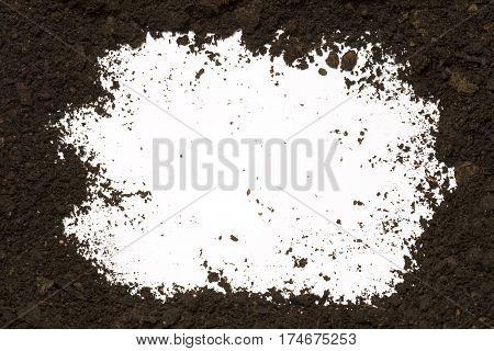 Black dirt frame isolated on white background