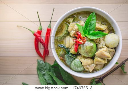 Thai Chicken Green Curry. Famous Thai Tradition Food with Copy Spcae. Image for Food Advertise in Nostalgic Concept and Rustic Vintage Tone