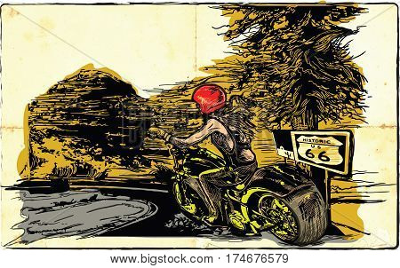 An woman from behind riding motorcycle chopper bike on the route 66. Freehand drawing vector sketch. NOTE - this illustration have not photo opportunity.