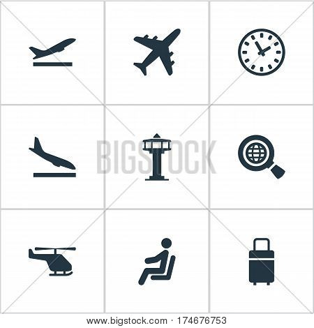 Set Of 9 Simple Plane Icons. Can Be Found Such Elements As Alighting Plane, Takeoff, Flight Control Tower And Other.