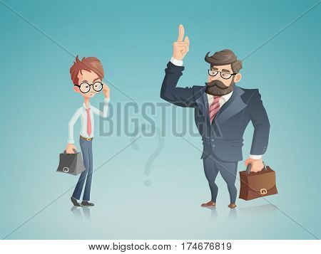 A illustration with two businessmen shown in a cartoon style. A successful one tells his counterpart how to achieve success in his business. These two characters can be used in the context of