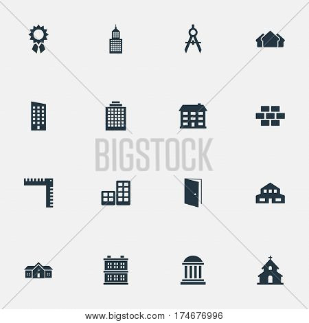Set Of 16 Simple Construction Icons. Can Be Found Such Elements As Residential, Stone, Offices And Other.