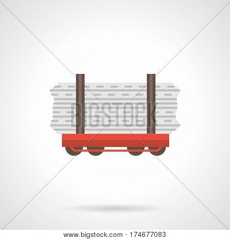 Red rail flatcar with loads. Open platform for railroad transportation of building boards, pipes, wood and other long cargoes. Flat color style vector icon.