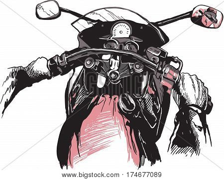 Motorcycle handlebars behind the bike. Riding fast machine. Hand drawn vector illustration - isolated on white. Freehand sketching.