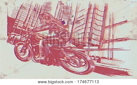 An young woman with long hair riding motorcycle fast bike in a modern city. Freehand drawing vector sketch. NOTE - this illustration have not photo opportunity .