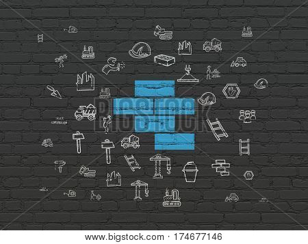 Building construction concept: Painted blue Bricks icon on Black Brick wall background with  Hand Drawn Construction Icons