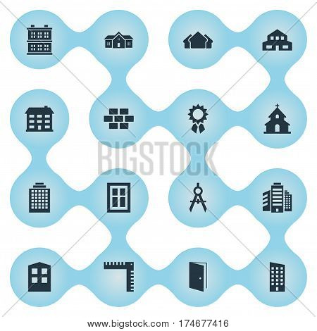 Set Of 16 Simple Architecture Icons. Can Be Found Such Elements As Popish, Residence, Glazing And Other.