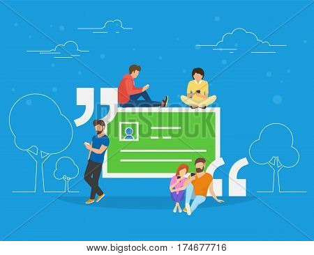 Testimonials quote symbol concept illustration of people using smartphone to make comments in social network. Flat people addicted to leave testimonials for images and news sitting on big quote symbol