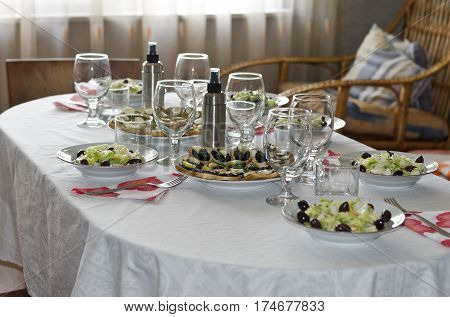 Place Setting at Table for a dinner