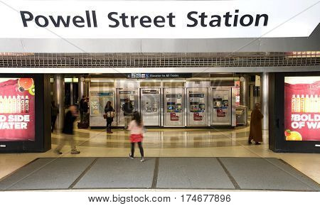 San Francisco CA - March 01 2017: Main entrance Powell Street BART Station. Bay Area Rapid Transit (BART) carries commuters to and from San Francisco the East Bay and San Mateo County.