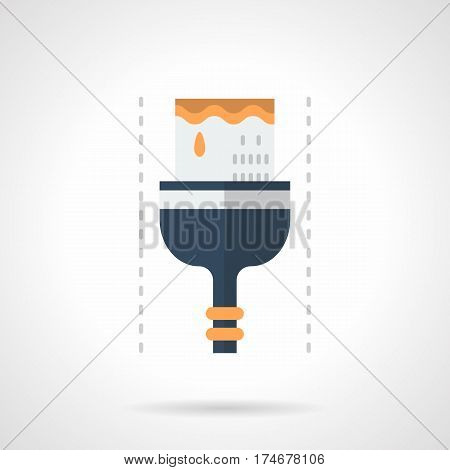 Brush with yellow paint. Equipment and tools for painting and varnish works. Flat color style vector icon.
