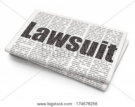 Law concept: Pixelated black text Lawsuit on Newspaper background, 3D rendering