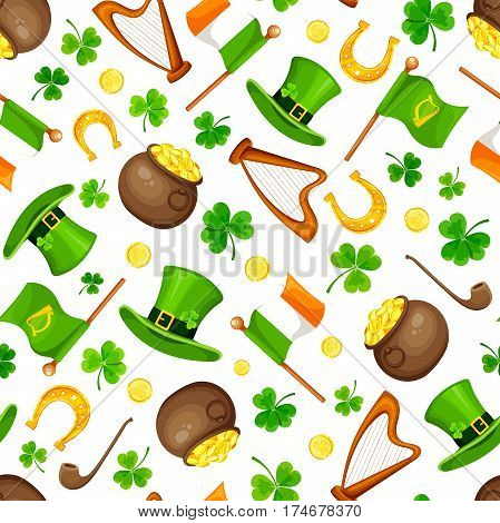 Vector St. Patrick's day seamless pattern with green shamrock leaves, leprechaun's hats, pots, gold coins, flags, harps and horseshoes on a white background.
