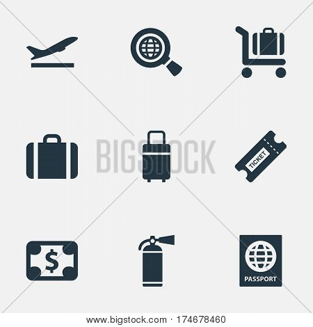 Set Of 9 Simple Transportation Icons. Can Be Found Such Elements As Handbag, Takeoff, Travel Bag.