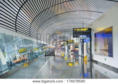 Nanning, China - October 12, 2016: Nanning International Airport Modern Interior