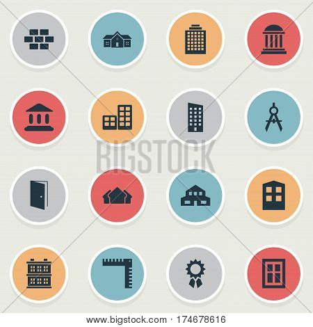 Set Of 16 Simple Architecture Icons. Can Be Found Such Elements As Gate, Academy, Residence And Other.
