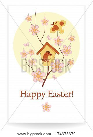 Easter background with birdhouse birds and flowering branches a template for an invitation greeting card vector illustration