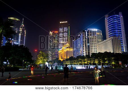 Guangzhou, China - September 13, 2016: Guangzhou Modern Central City District With People Walking In
