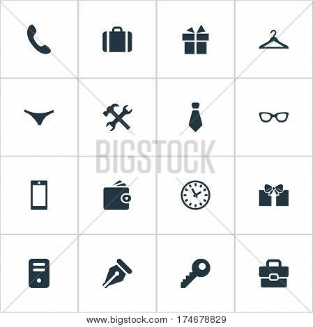 Set Of 16 Simple Accessories Icons. Can Be Found Such Elements As Present, Mobile Phone, Repair And Other.